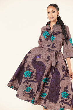 Grass-Fields Mid Lenght Dresses African Print Sena Shirt Dress