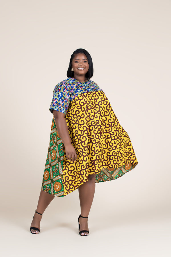 Grass-Fields Mid Lenght Dresses African Print Shanti Highlow Dress