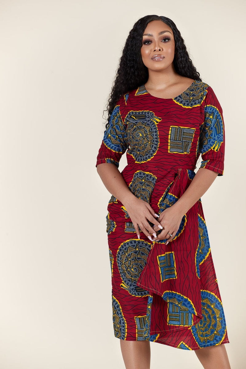 Grass-Fields Mid Lenght Dresses African Print Shay Dress