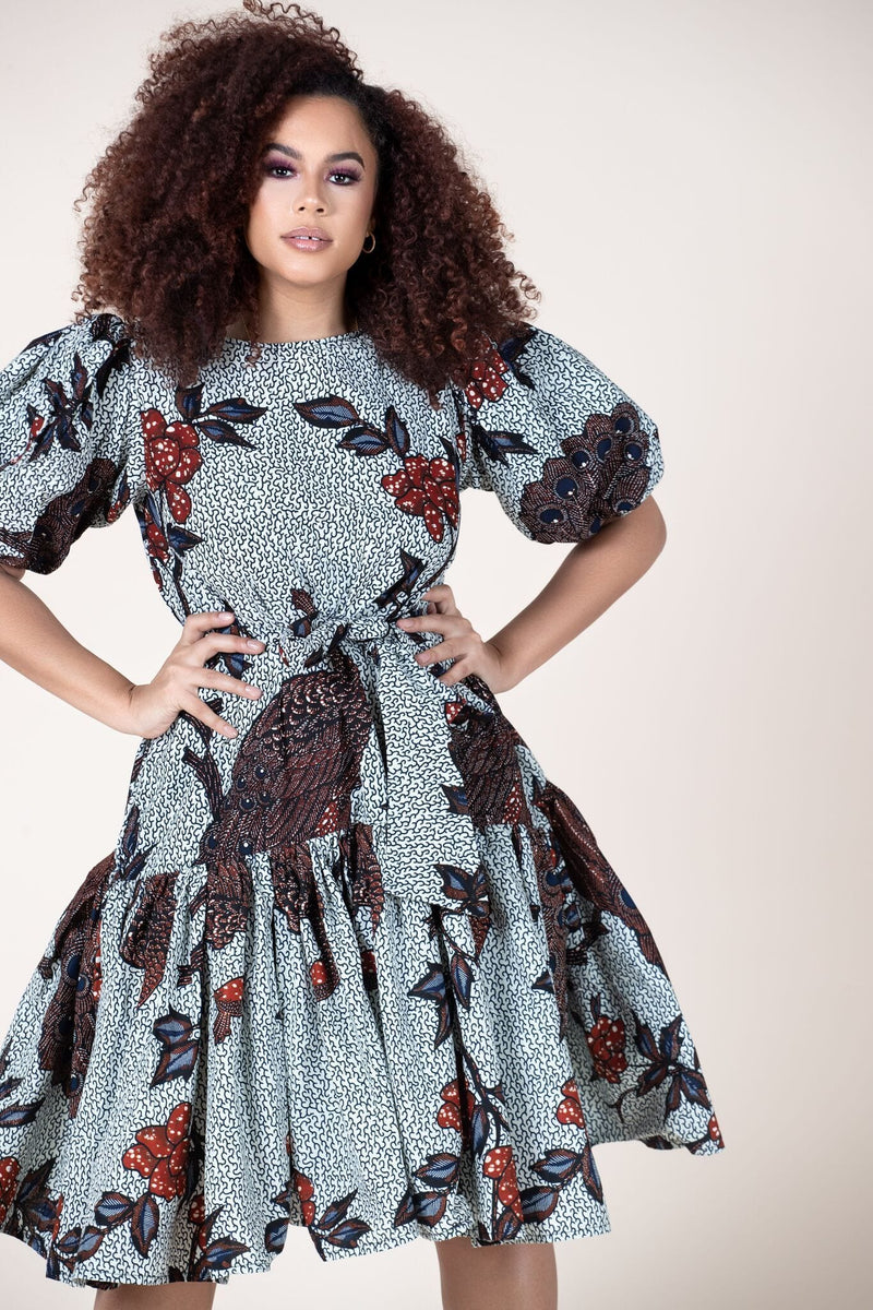 Grass-Fields Mid Lenght Dresses African Print Sonia Dress
