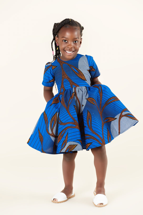 Grass-Fields Mid Lenght Dresses African Print Sunya Kid's Dress