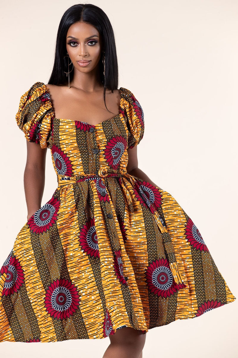 Grass-Fields Mid Lenght Dresses African Print Tamara dress