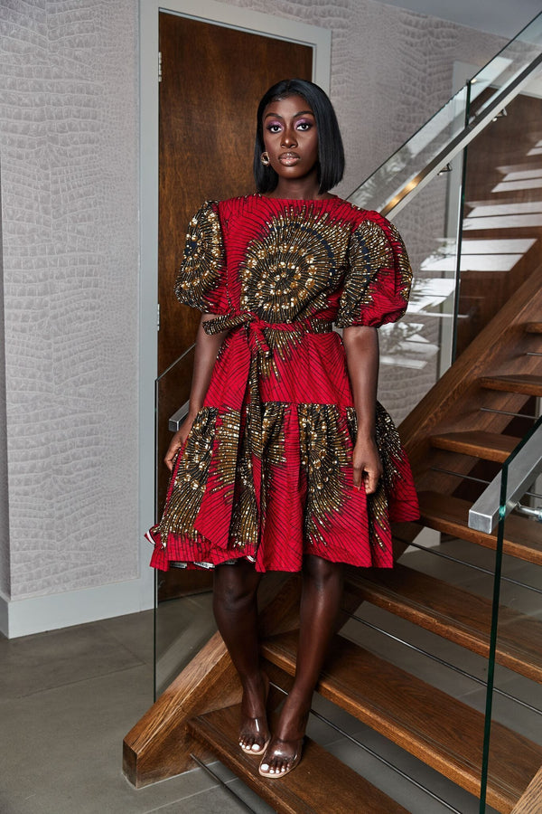 Grass-Fields Mid Lenght Dresses African Print Tessa Dress