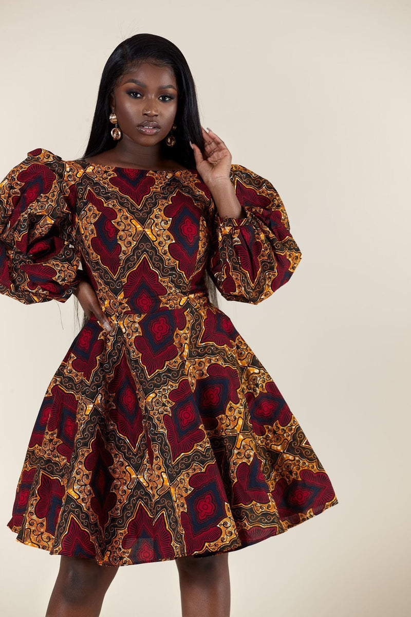 Grass-Fields Mid Lenght Dresses African Print Thembeka Dress