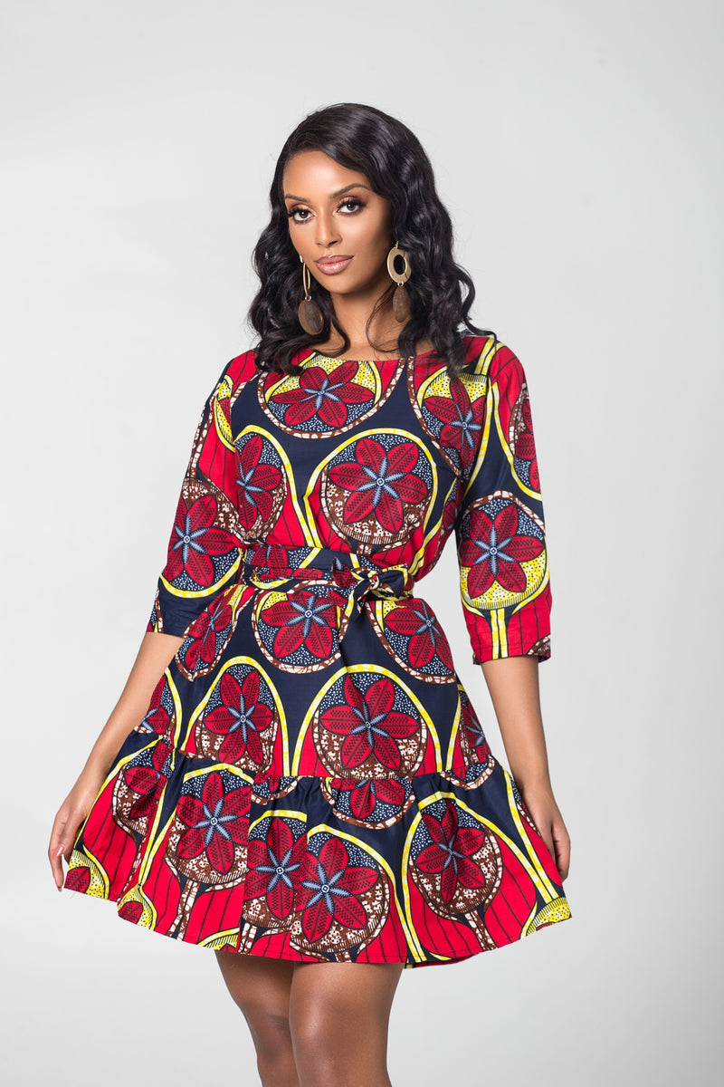 Grass-Fields Mid Lenght Dresses African Print Therese Dress