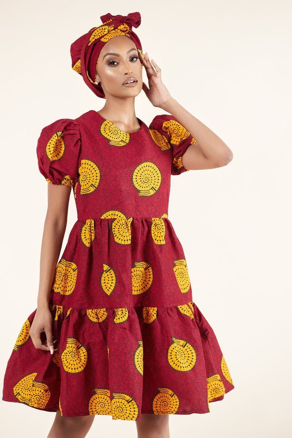 Grass-Fields Mid Lenght Dresses African Print Tomi Dress