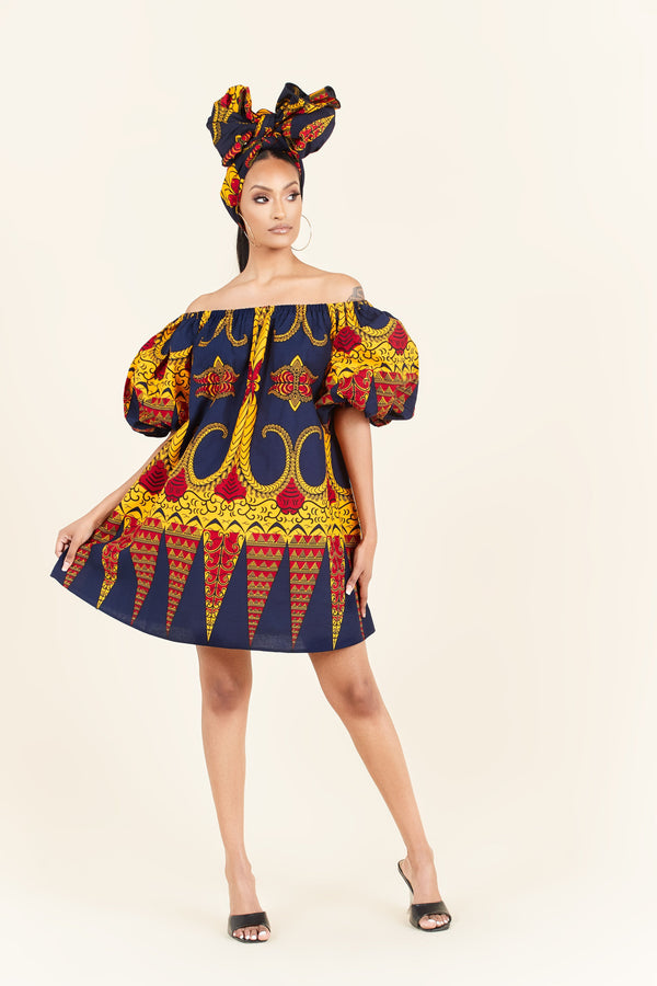 Grass-Fields Mid Lenght Dresses African Print Uche Dress