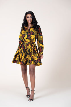 Grass-Fields Mid Lenght Dresses African Print Valerie Dress