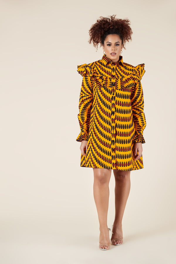 Grass-Fields Mid Lenght Dresses African Print Yellow Paulina Dress