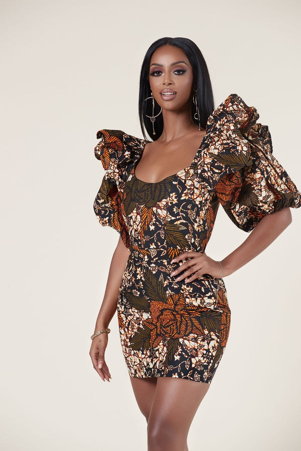 Grass-Fields Mid Lenght Dresses African Print Yemisi Dress