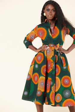 Grass-Fields Mid Lenght Dresses African Print Yetunde Shirt Dress