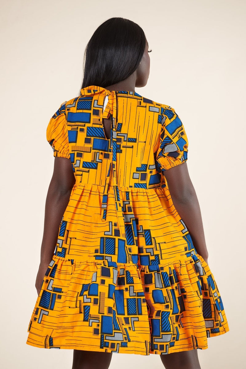 Grass-Fields Mid Lenght Dresses African Print Yewande Dress