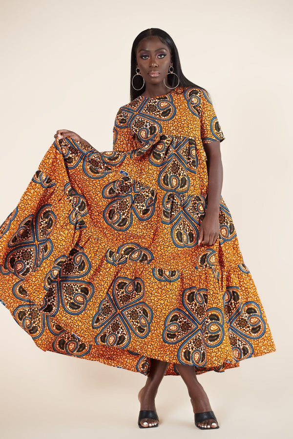 Grass-Fields Mid Lenght Dresses African Print Zainab Dress