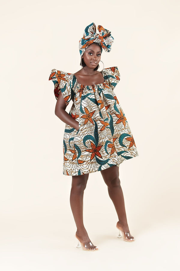 Grass-Fields Mid Lenght Dresses African Print Zaria dress