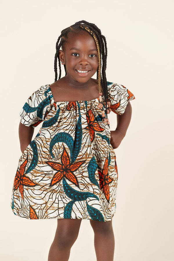 Grass-Fields Mid Lenght Dresses African Print Zaria Kid's Dress