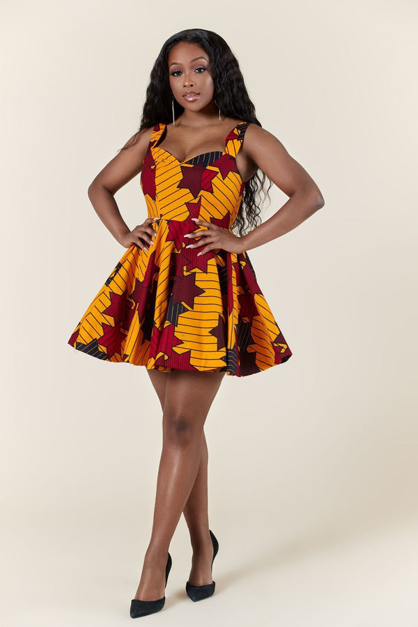 Grass-Fields Mid Lenght Dresses African Print Zemara Dress