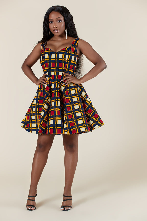 Grass-Fields Mid Lenght Dresses African Print Zota Dress