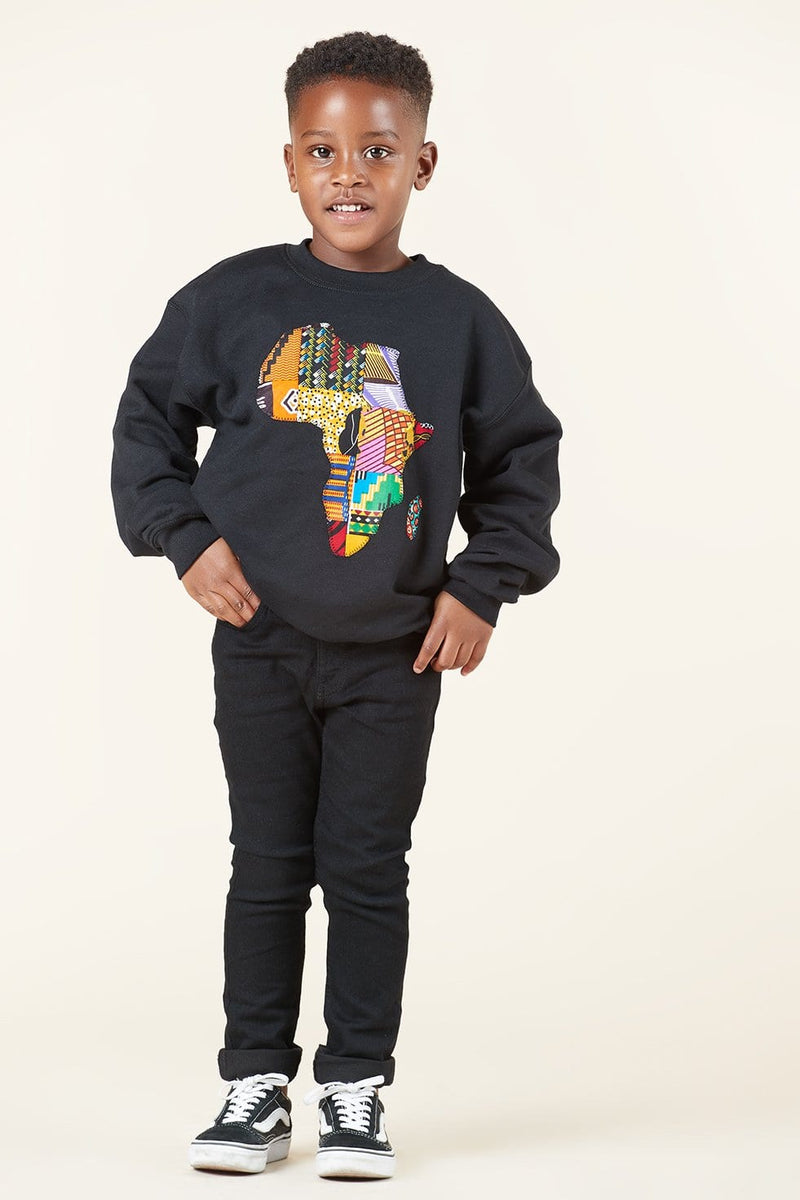 Grass-Fields Mid Lenght Dresses Black African Map Kid's Sweatshirt