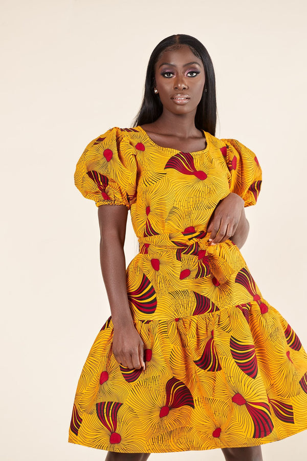 Grass-Fields Mid Lenght Dresses Copy of African Print Dove Dress