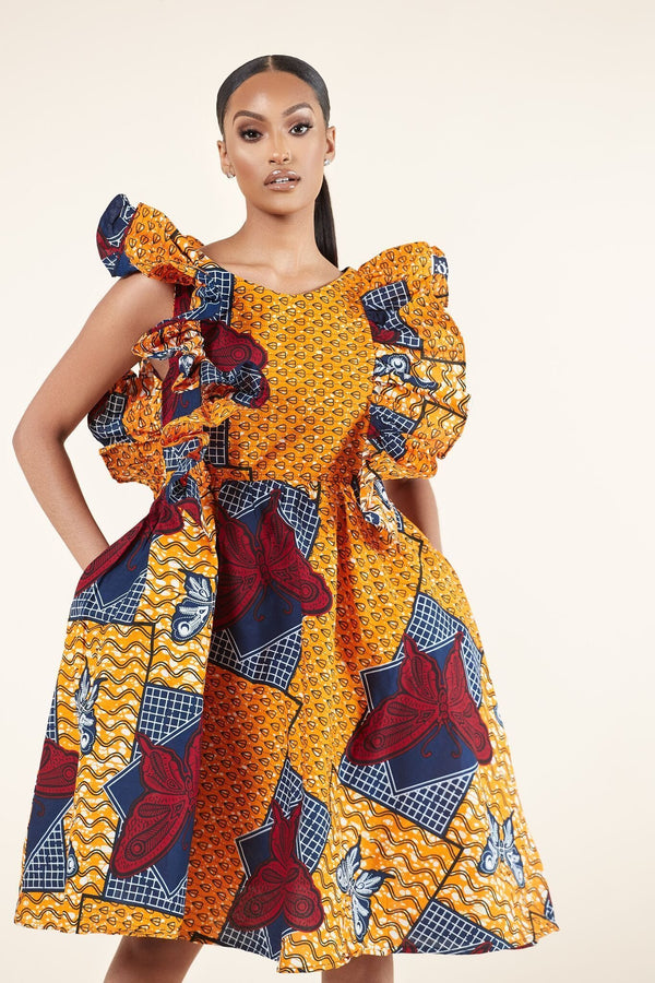 Grass-Fields Mid Lenght Dresses Copy of African Print Thembi Dress