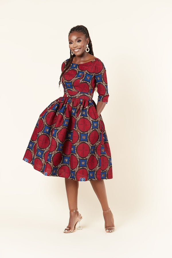 Grass-Fields Midi Length Dresses African Print Anele Dress