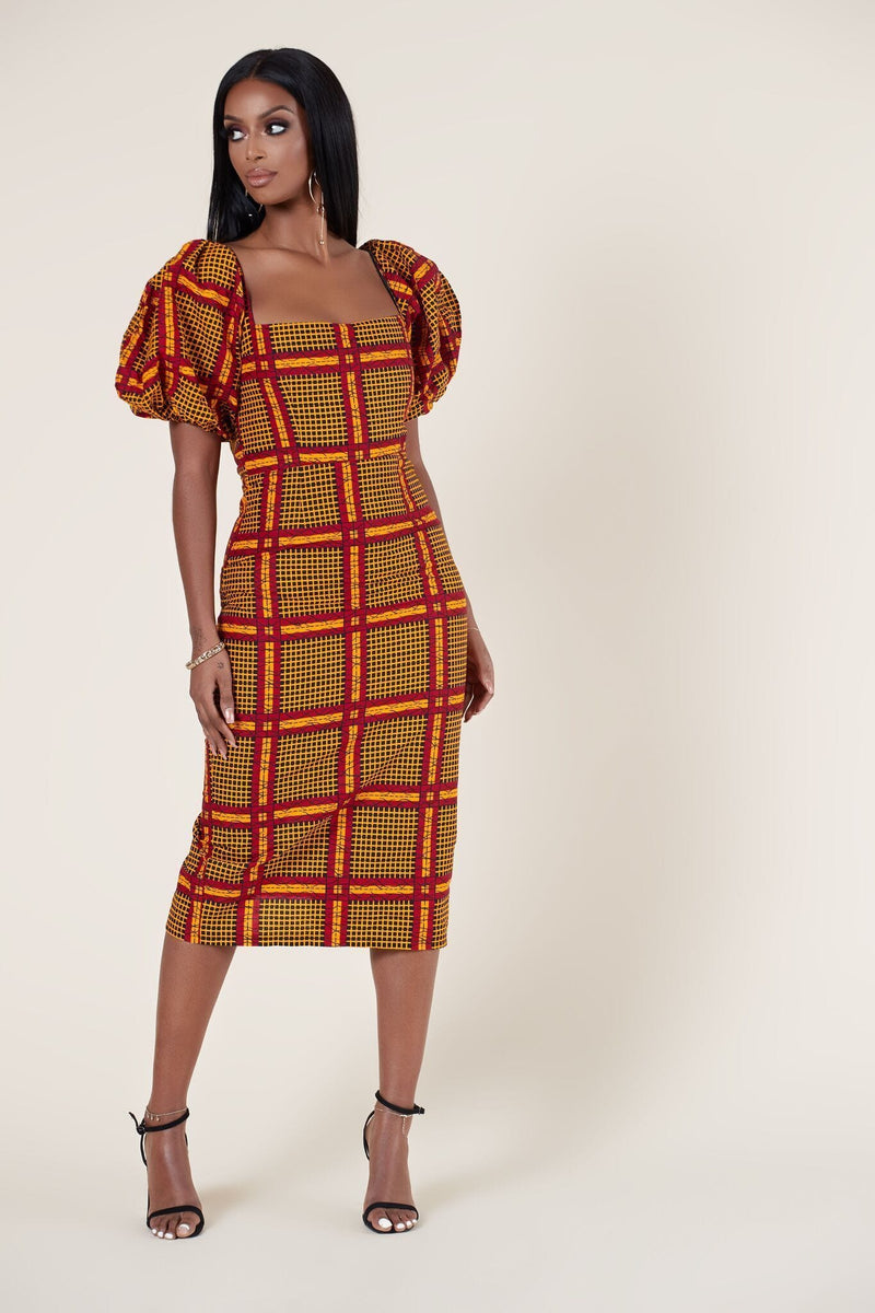 Grass-Fields Midi Length Dresses African Print Araba Dress