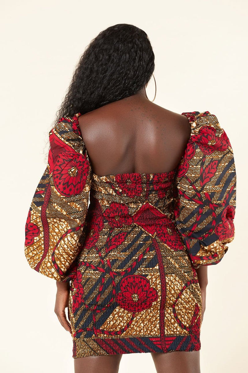 African Print Balla Smocking Dress