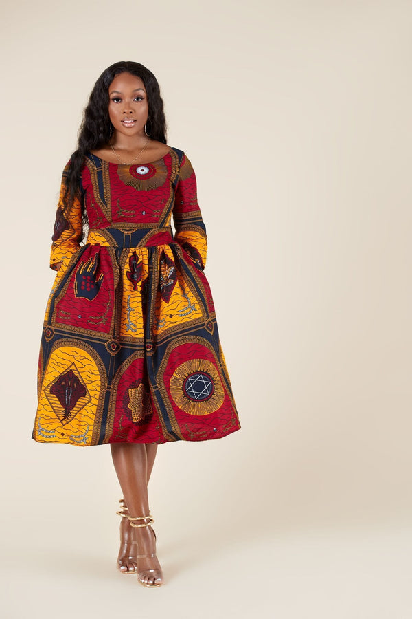 Grass-Fields Midi Length Dresses African Print Candence Dress