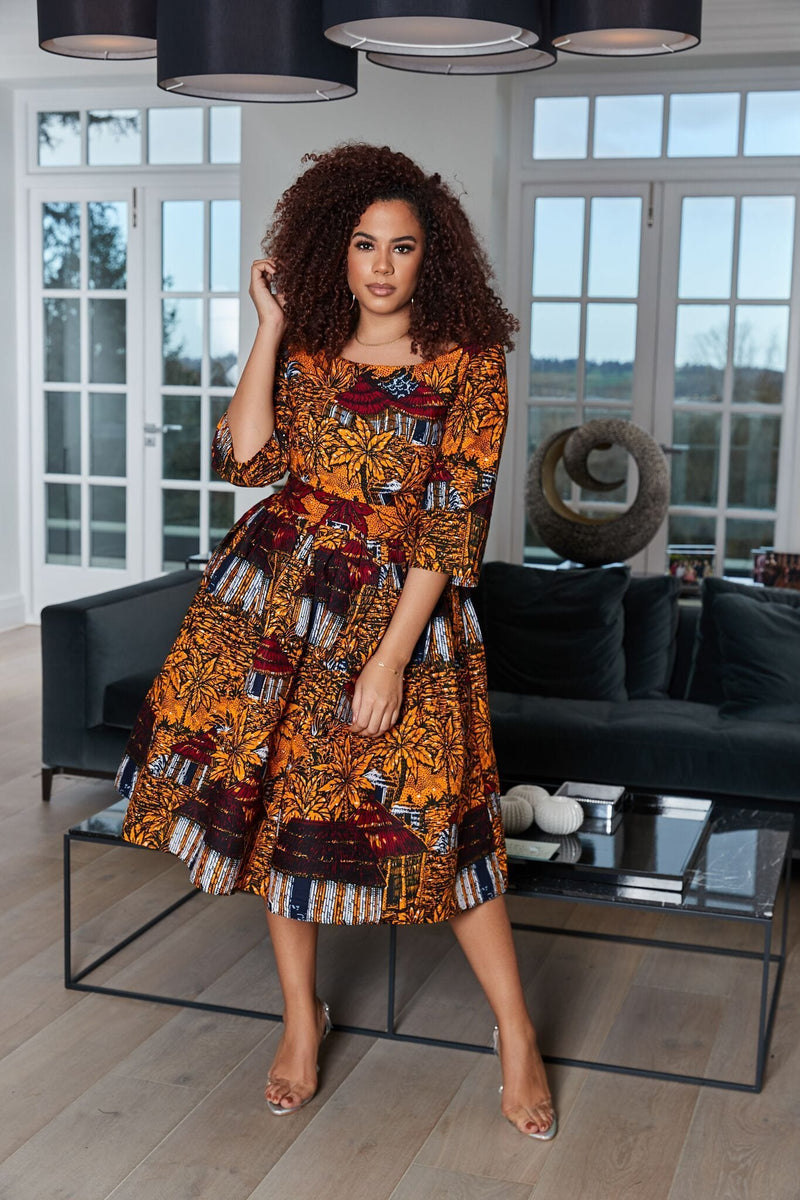 Grass-Fields Midi Length Dresses African Print Folami Dress