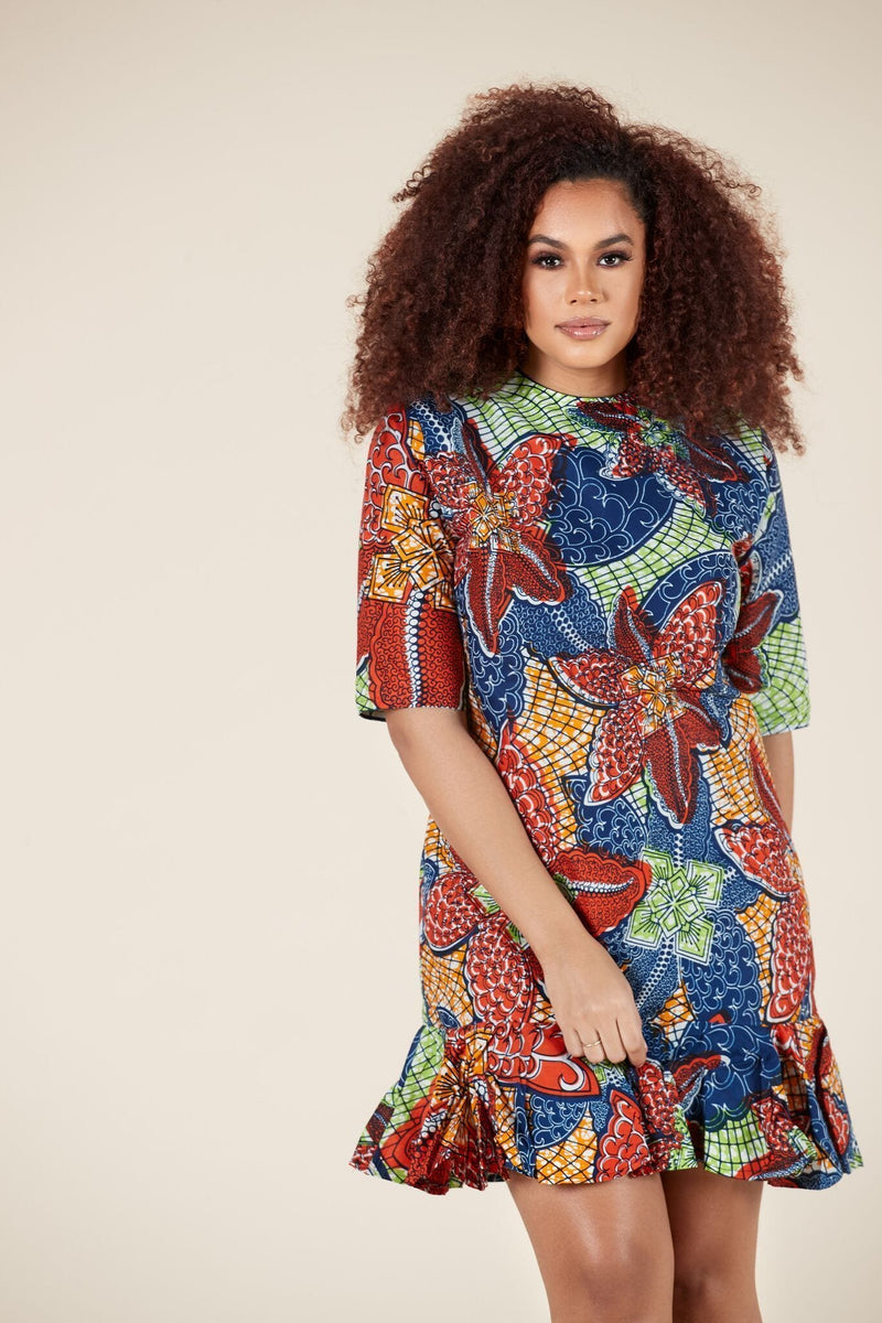 Grass-Fields Midi Length Dresses African Print Getrude Dress