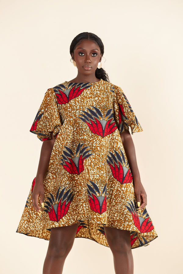 Grass-Fields Midi Length Dresses African Print Karine Dress