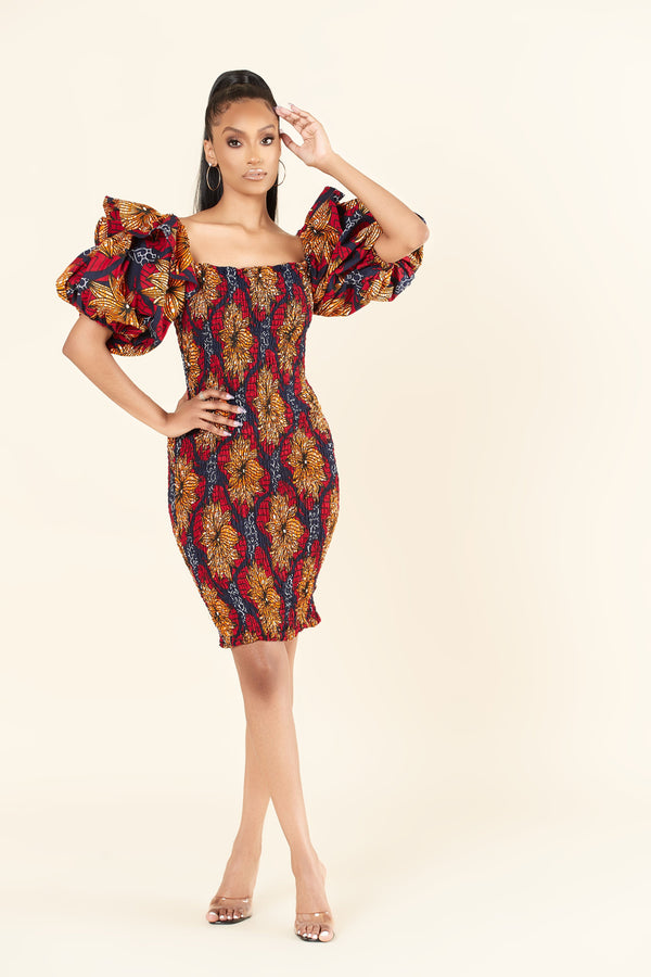 Grass-Fields Midi Length Dresses African Print Miranda Dress