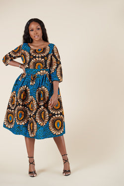 Grass-Fields Midi Length Dresses African Print Zivah Dress