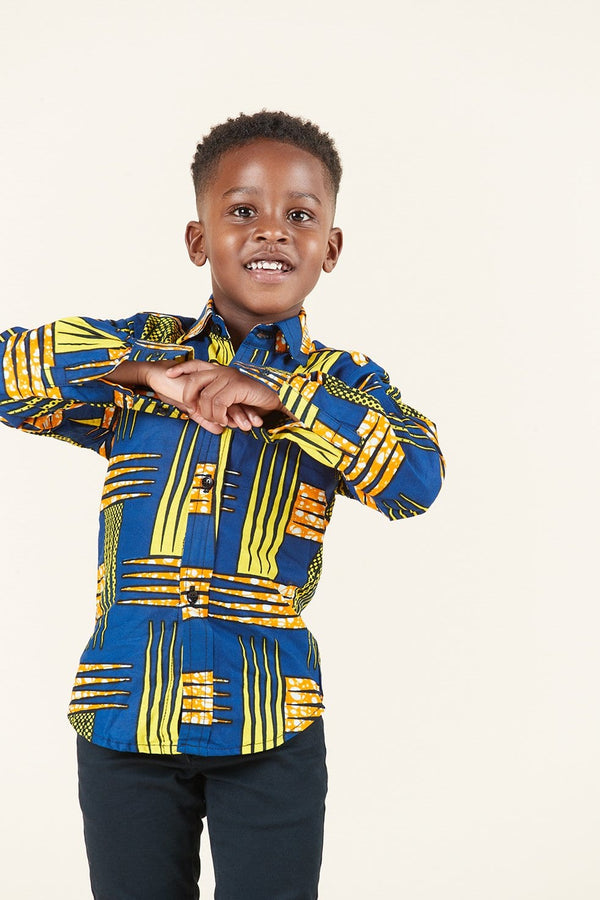 Grass-Fields Skirts African Print Abasi Kid's Shirt
