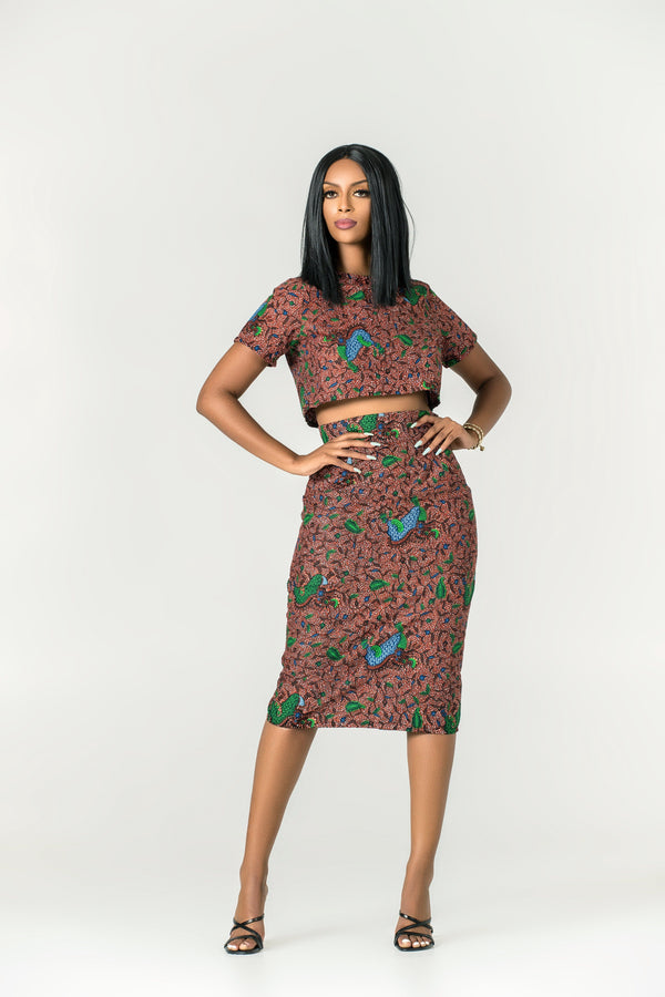 Grass-fields Skirts African Print Audrey Midi Skirt