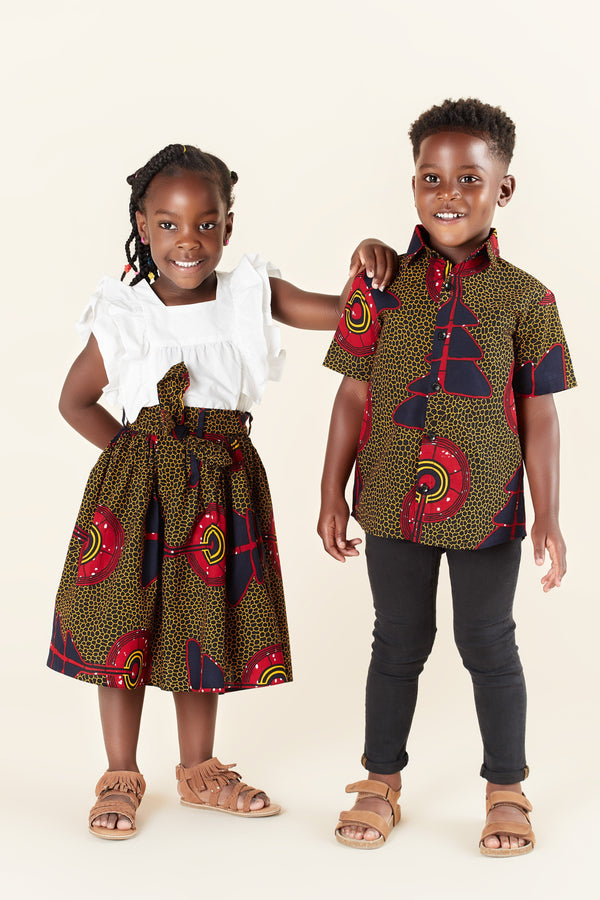 Grass-Fields Skirts African Print Mena Kid's Skirt