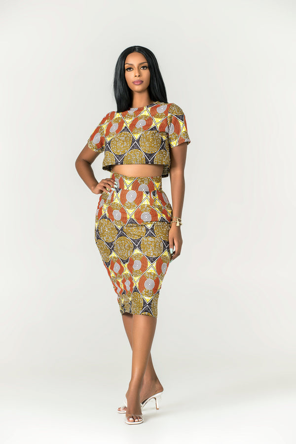 Grass-fields Skirts African Print Pendeza Midi Skirt