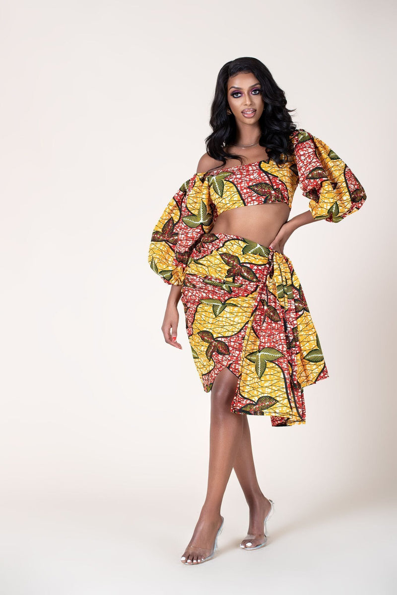 Grass-fields Skirts African Print Rutendo Wrap Skirt