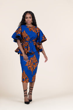 Grass-fields Skirts African Print Thandi Midi Skirt