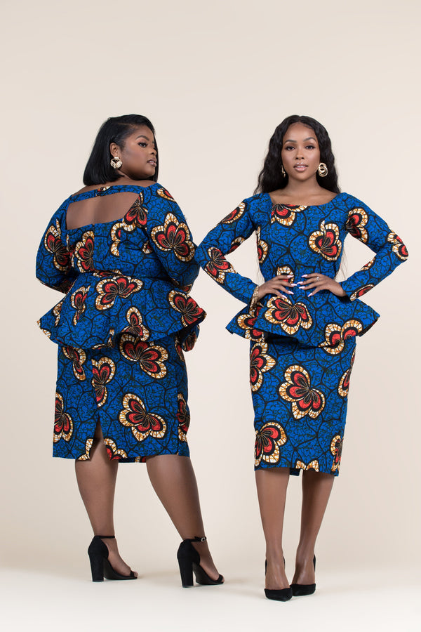 Grass-fields Tops African Print Abayo Peplum Top