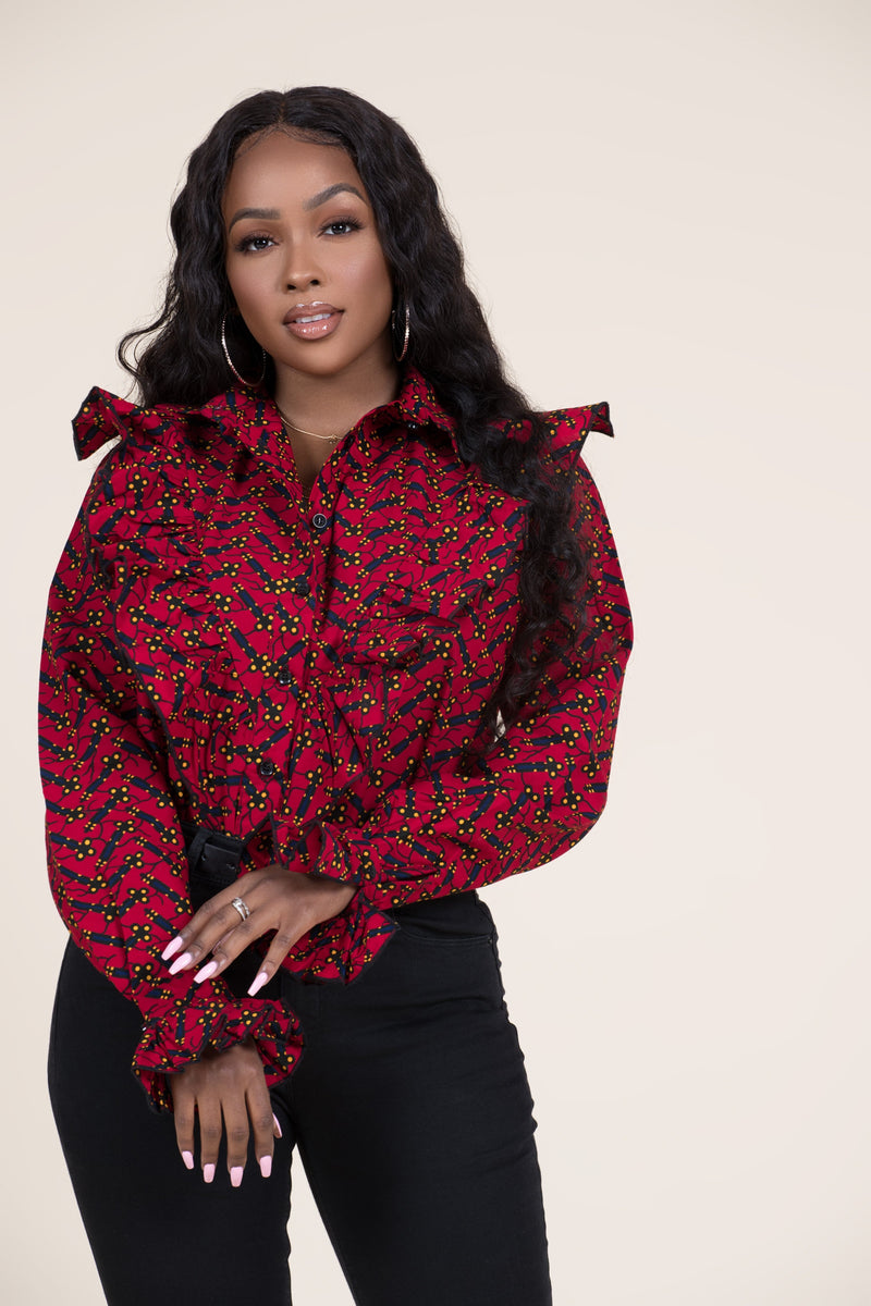 Grass-Fields Tops African Print Adebola Shirt
