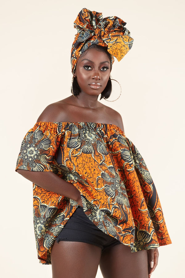 Grass-fields Tops African Print Aicha Top