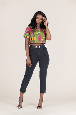 Grass-fields Tops African Print Akeyo Crop Top