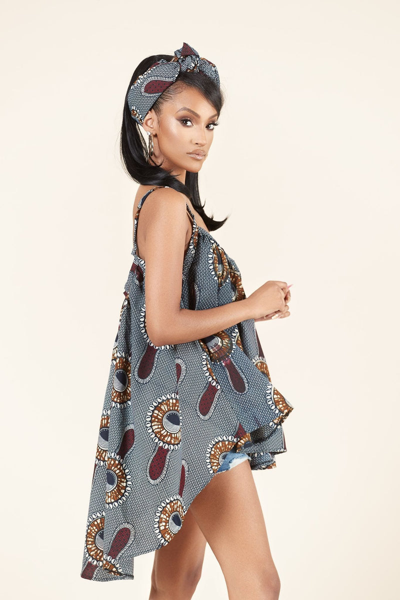 African Print Angela Flared Top