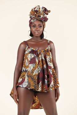 African Print Ashley Flared Top