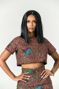 Grass-fields Tops African Print Audrey Crop Top
