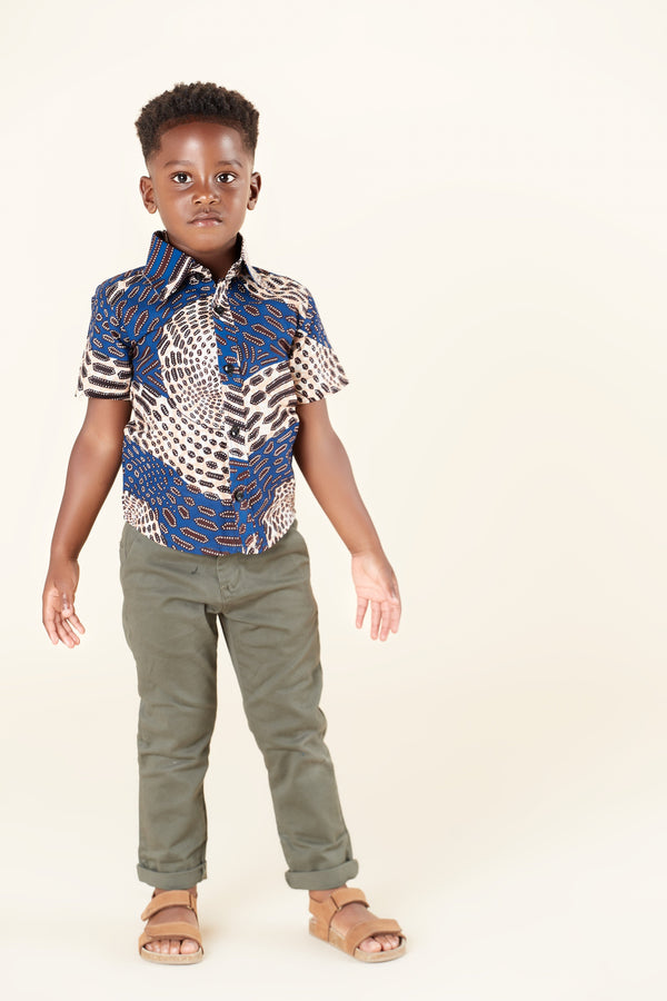 Grass-Fields Tops African Print Baako Kid's Shirt
