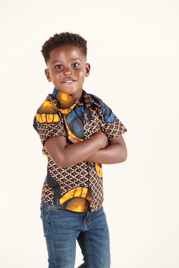 Grass-Fields Tops African Print Charlie Kid's Shirt