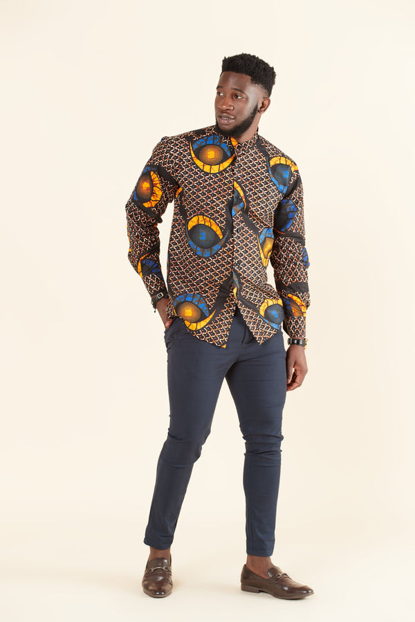 Grass-fields Tops African Print Charlie Shirt