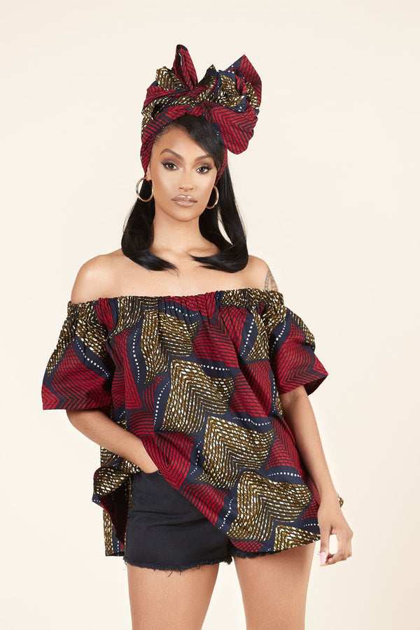 Grass-fields Tops African Print Dola Top